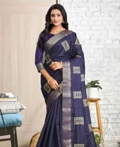 Lace Cotton Saree in Navy Blue