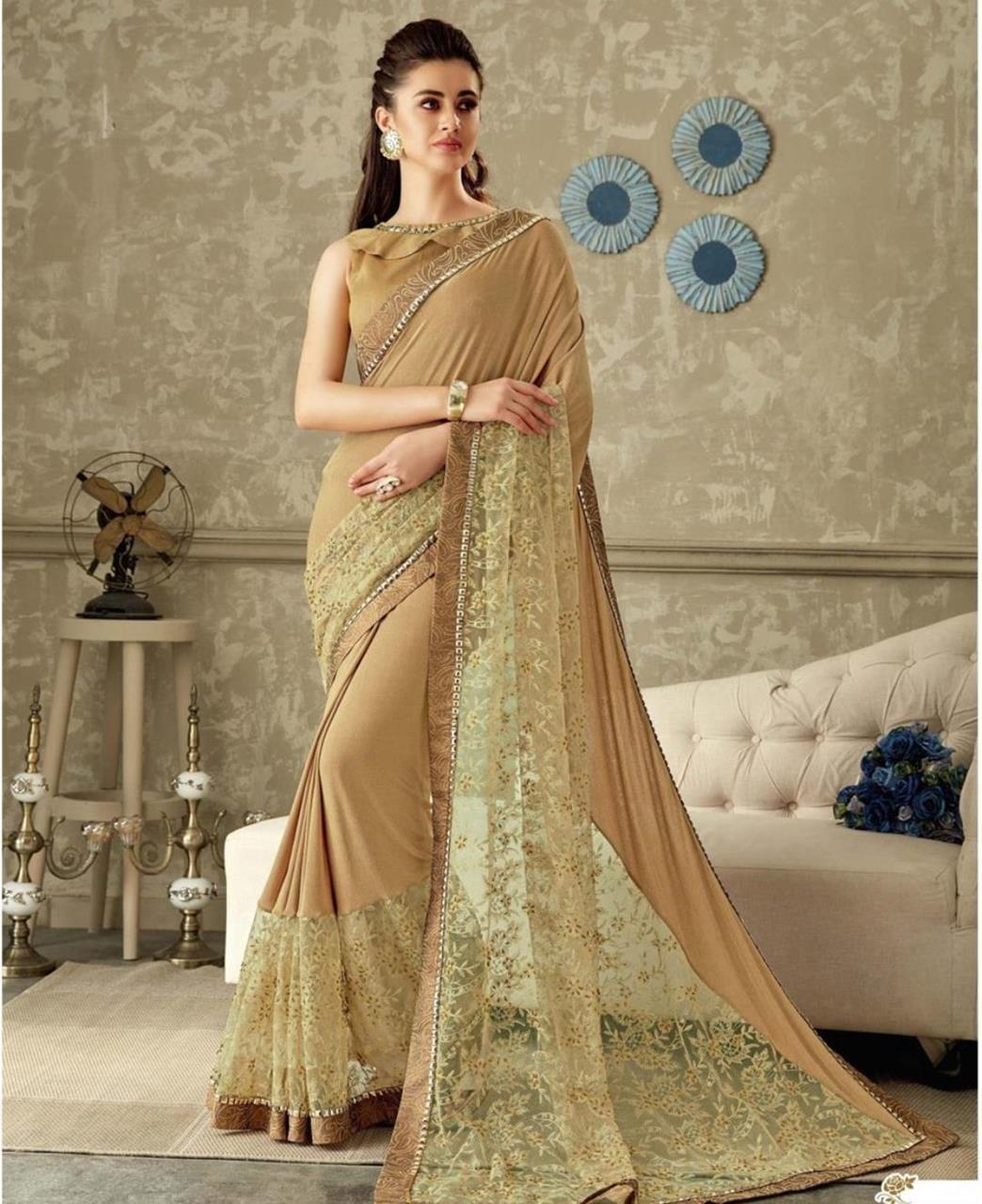Embroidered Lycra Saree (Sari) in Beige