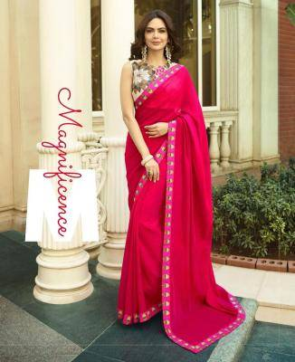 Embroidered Chanderi Saree in Pink