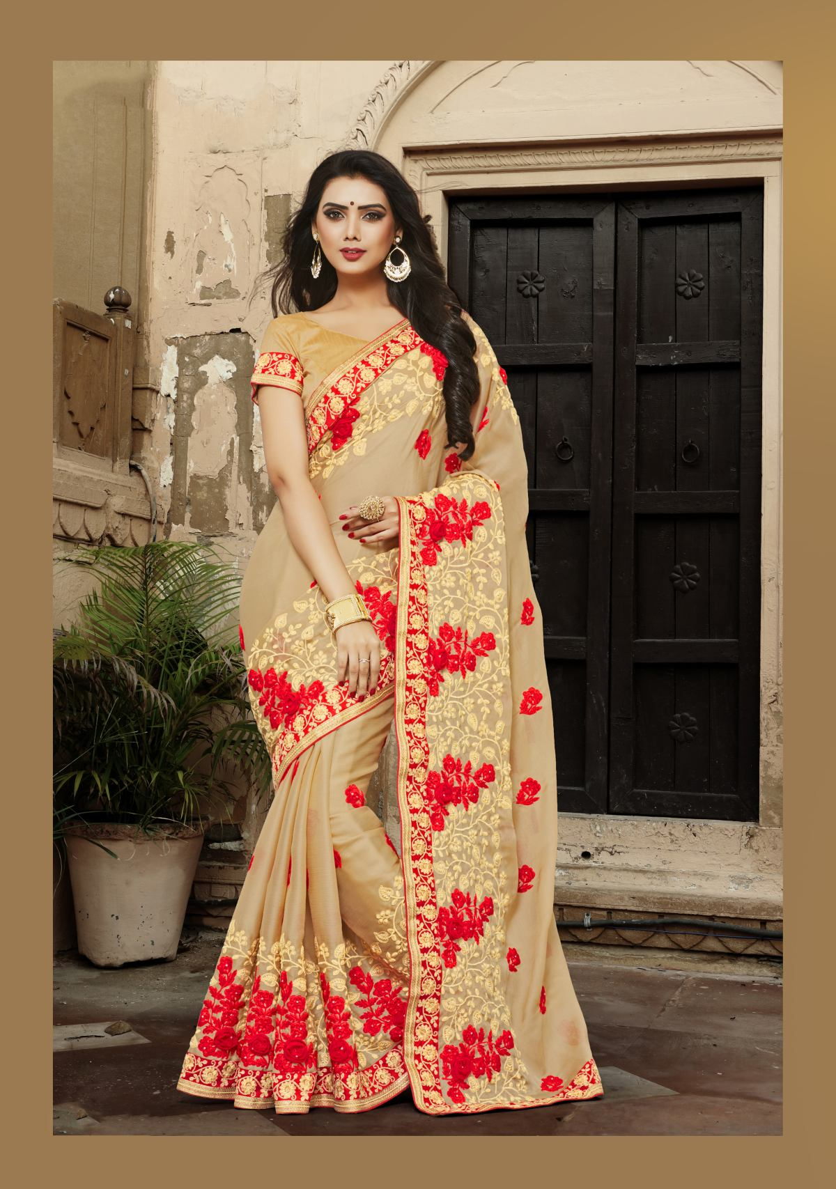 Embroidered Chiffon Saree in Beige