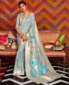 Silk Saree in Sky Blue