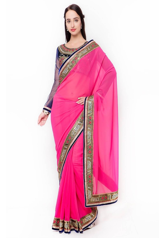 Embellishments Georgette Saree (Sari) in Pink