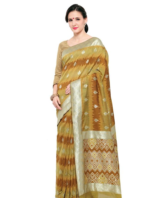 Silk Saree in Brown