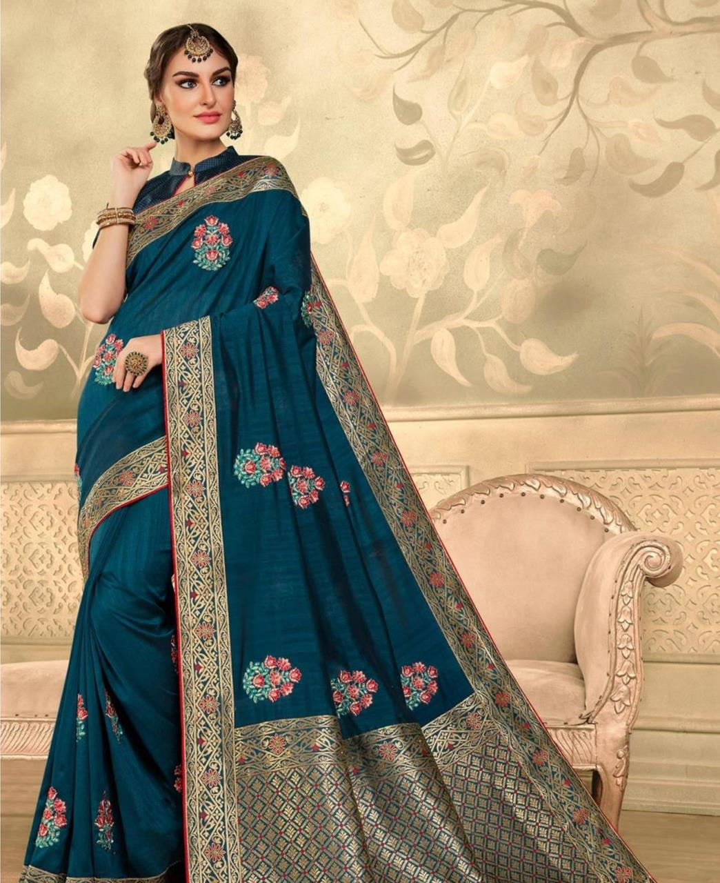 Stone Work Silk Saree in Teal Blue
