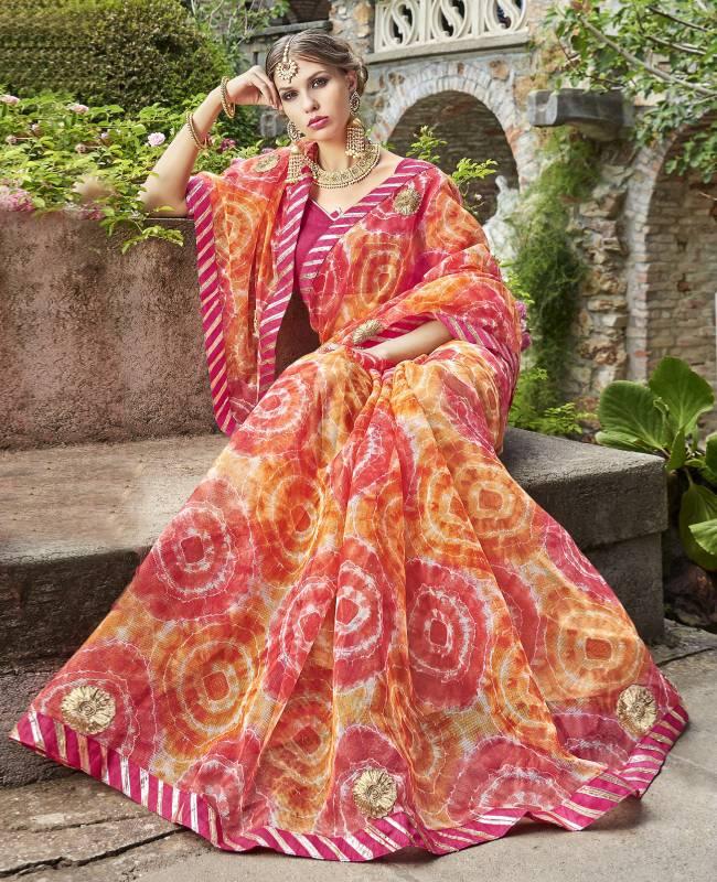 Bandhej Printed Supernet Saree (Sari) in Pink