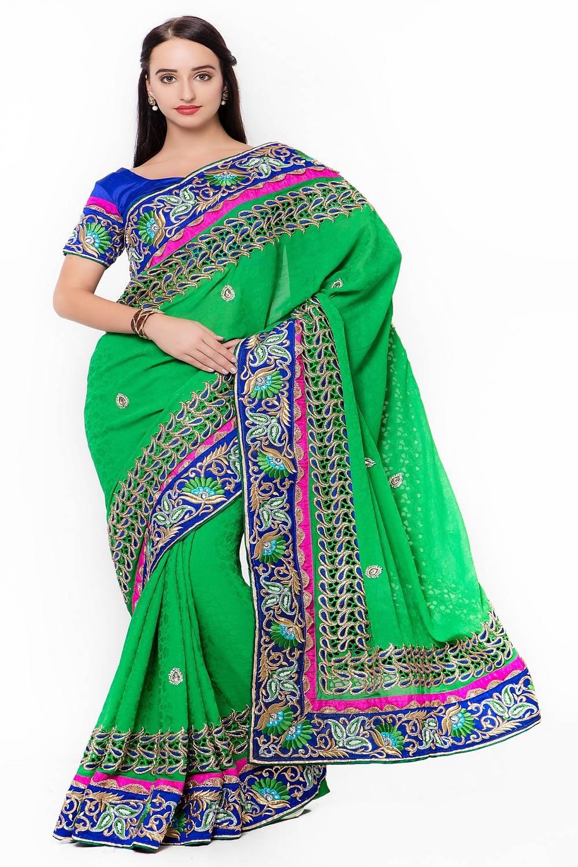 Embellishments Banarasi Silk Saree (Sari) in Green