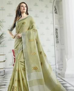 Embroidered Cotton Saree in Lemon