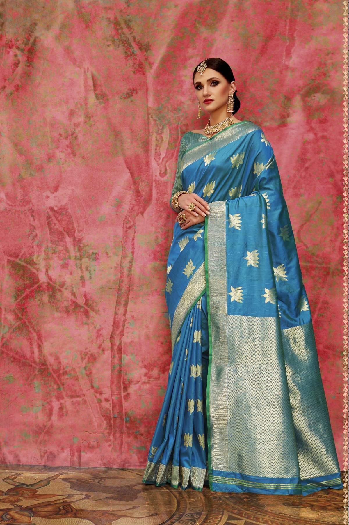 Woven Art Silk Saree in Blue