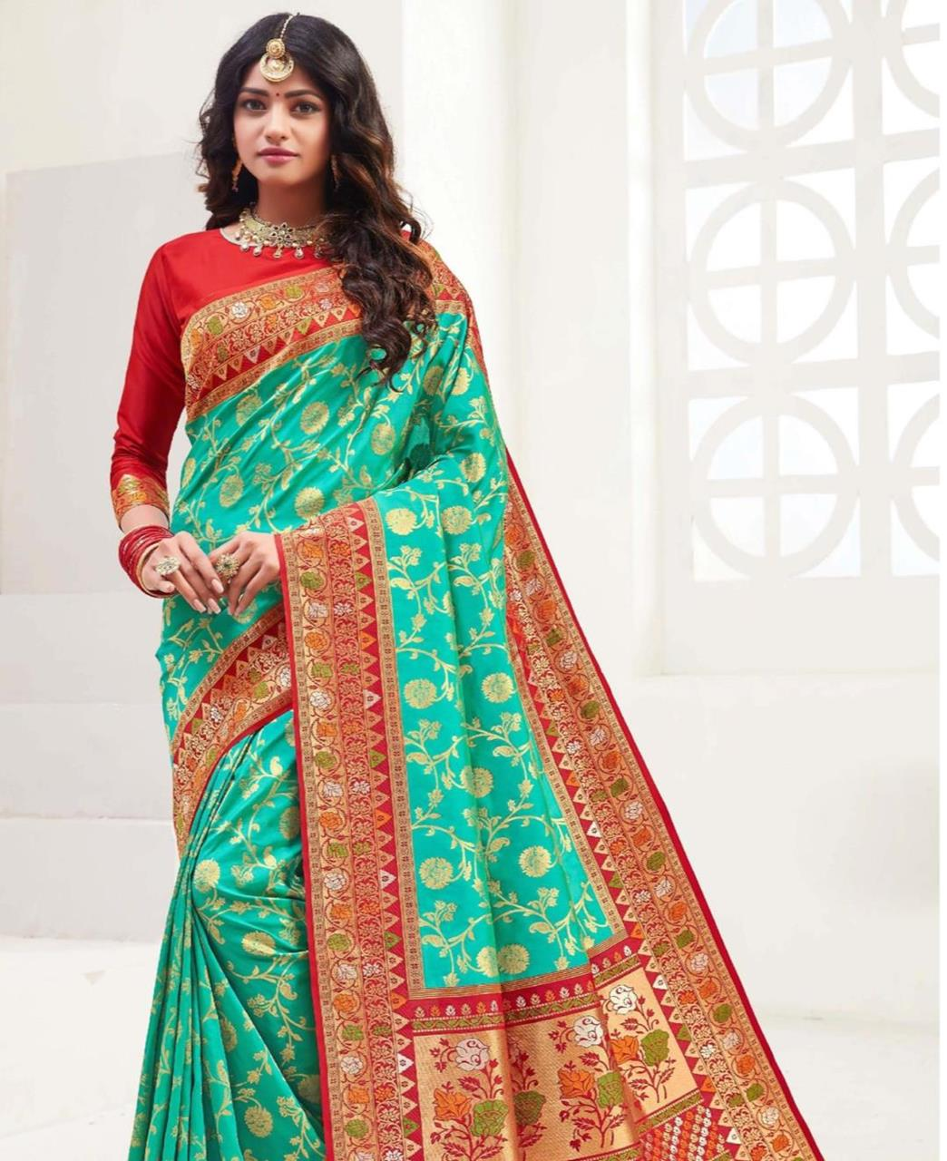 Printed Silk Saree in Rama