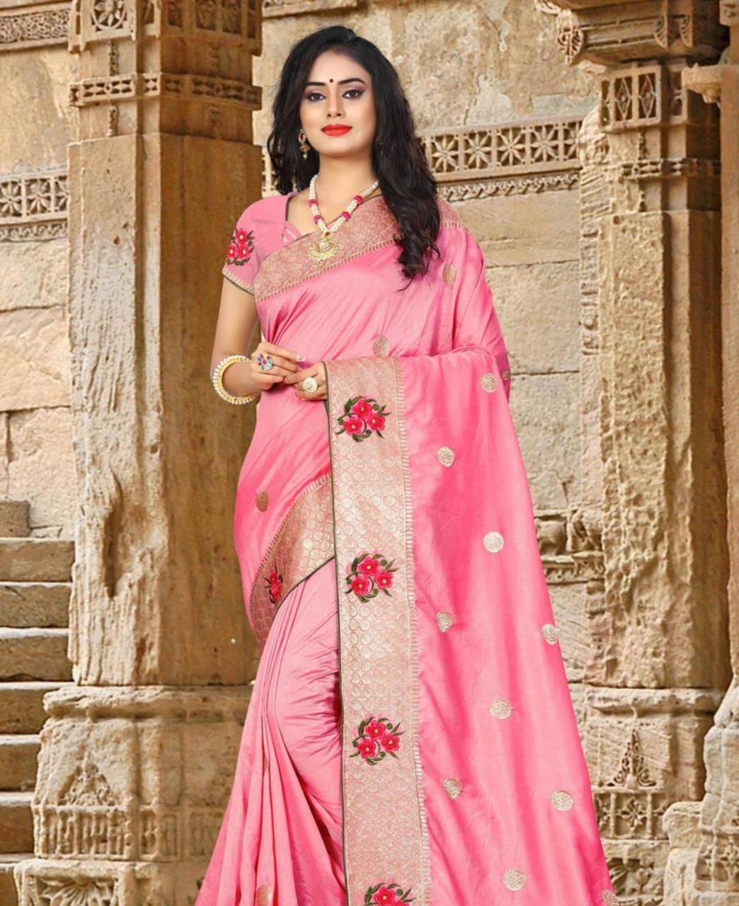 Resham Silk Saree (Sari) in Pink