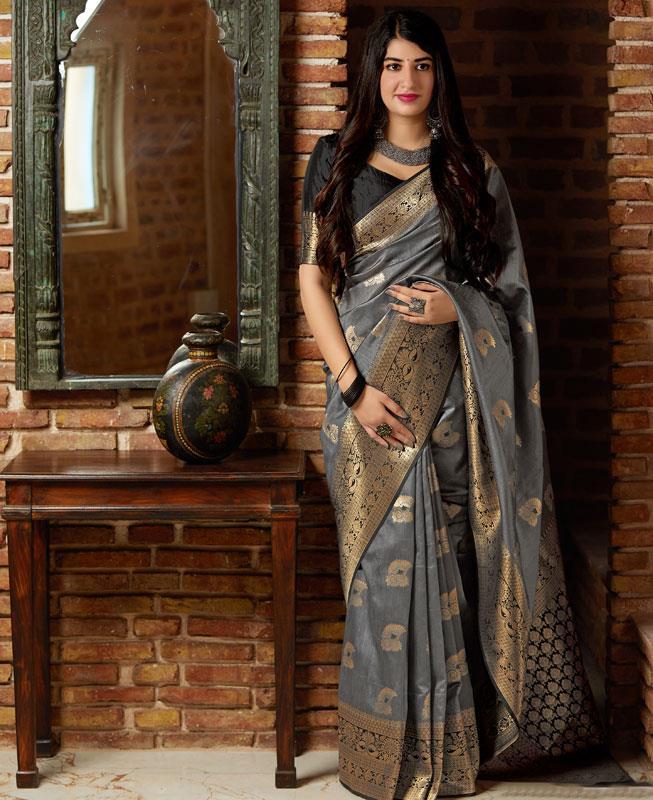 Woven Banarasi Silk Saree in Gray