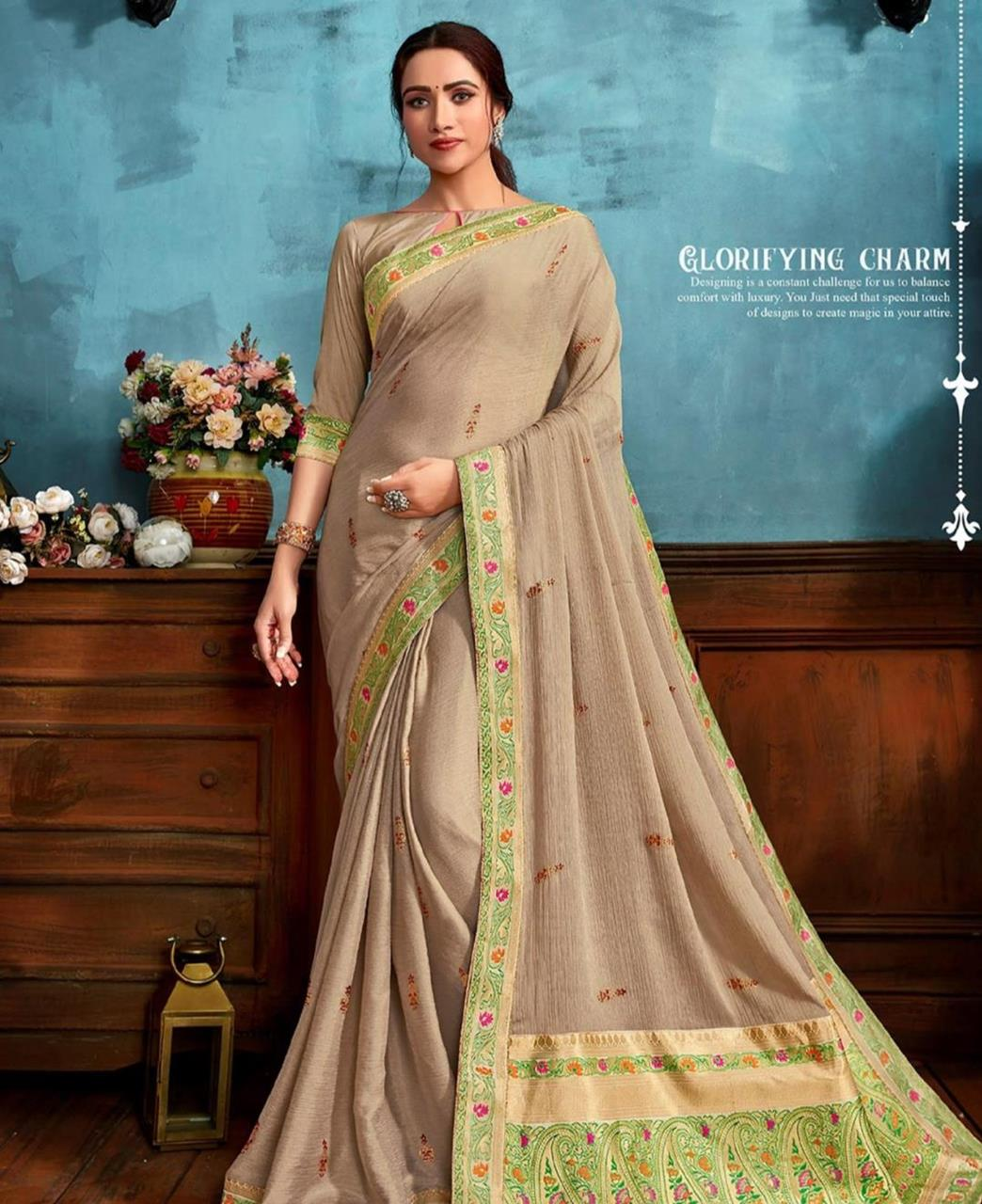 Printed Chiffon Saree in Beige
