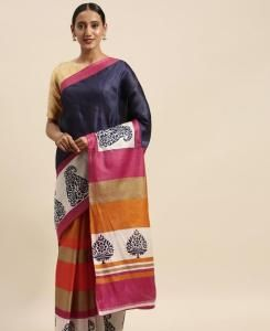 HandWorked Cotton Saree in Blue  ,  Orange