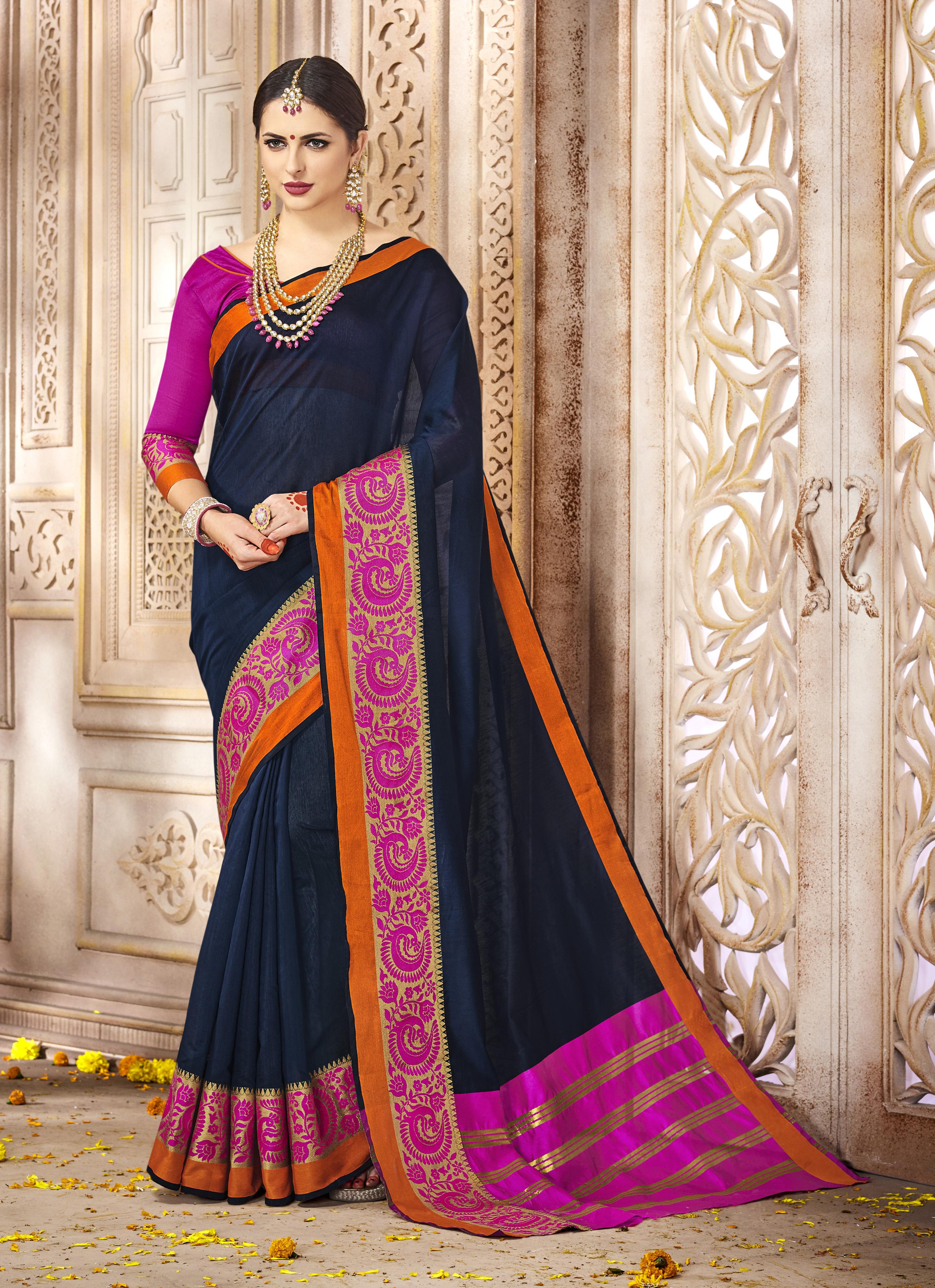 Woven Silk Saree in Navyblue