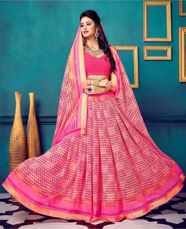 Printed Faux Georgette Saree (Sari) in Pink