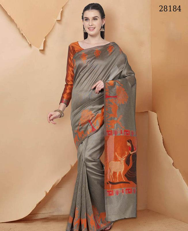 Woven Georgette Saree(Sari) in Gray