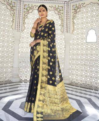 Woven Chiffon Saree in Black