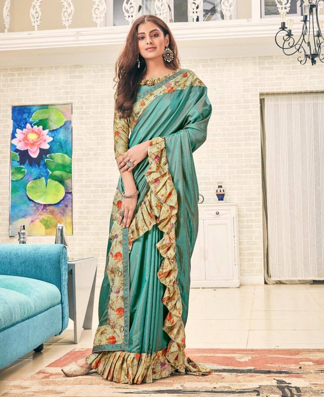 Printed Silk Saree (Sari) in SEAGREEN