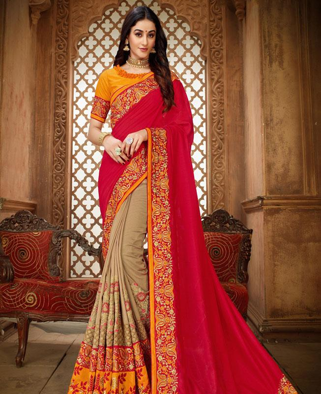 Embroidered Silk Saree in Red
