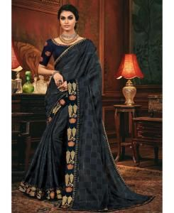 Lace Silk Saree in Gray