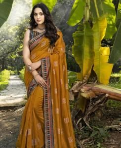 HandWorked Silk Saree in Musturd