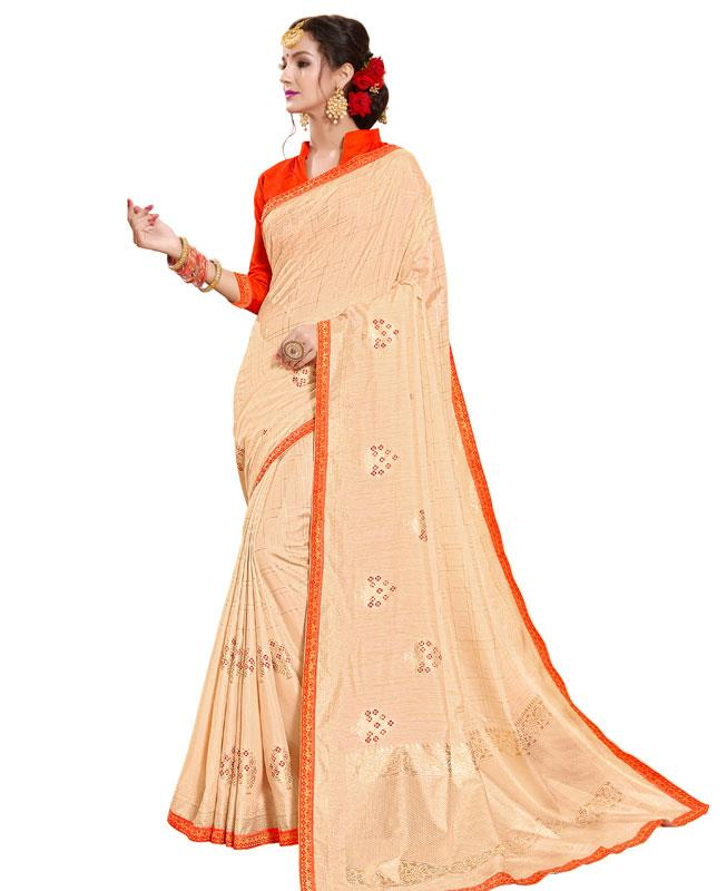 Printed Silk Saree in Beige