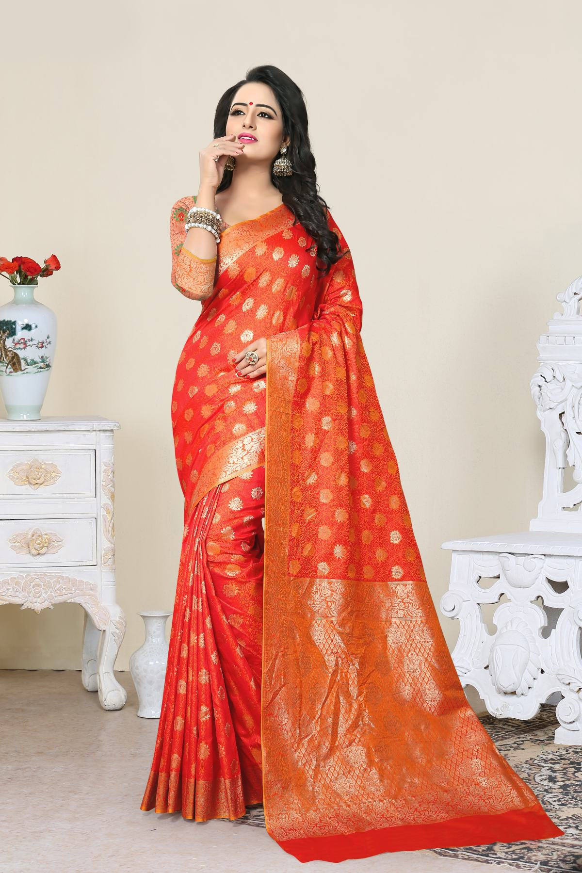 Woven Art Silk Saree (Sari) in Orange