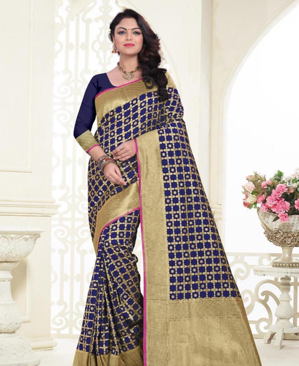 Printed Banarasi Silk Saree (Sari) in Navyblue