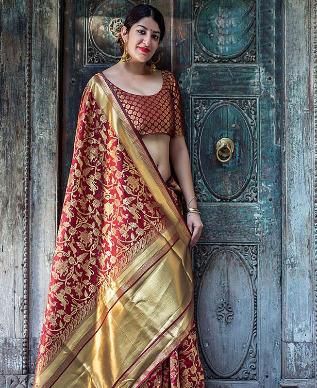 Printed Banarasi Silk Saree (Sari) in Maroon
