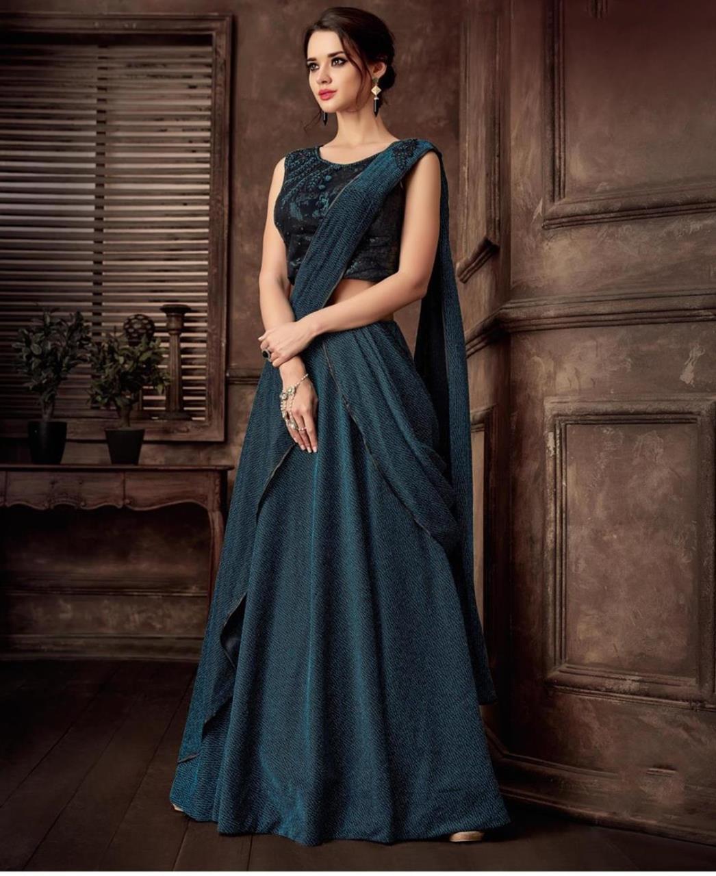 Embroidered Lycra Saree(Sari) in Blue