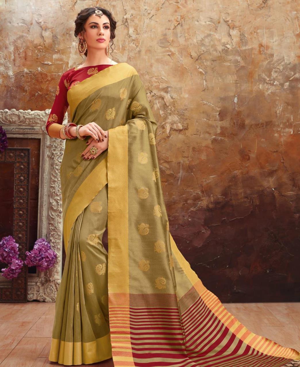 Printed Art Silk Saree (Sari) in Gray