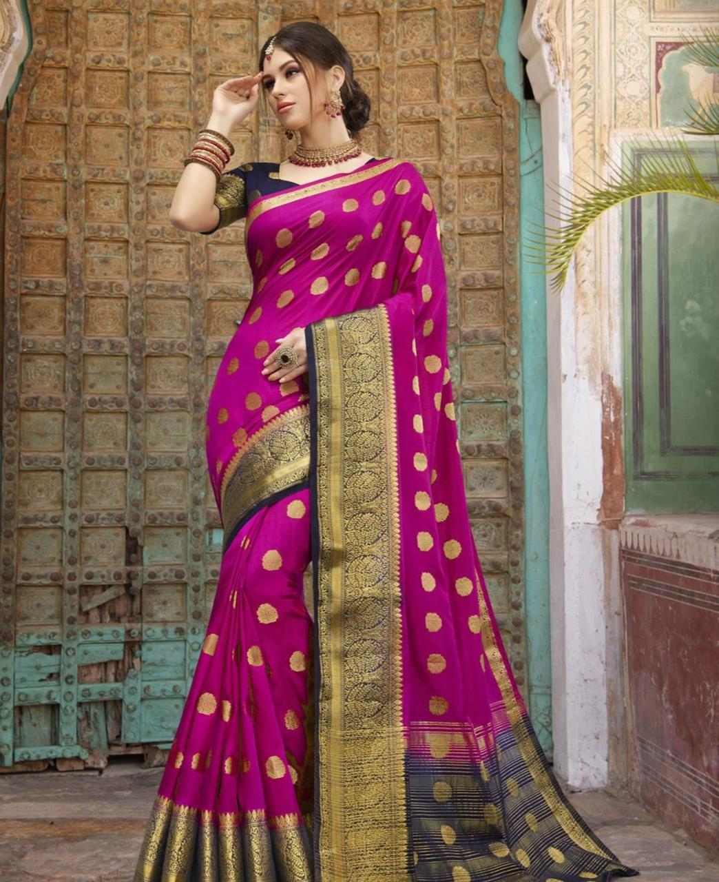 Silk Saree in Dark Pink