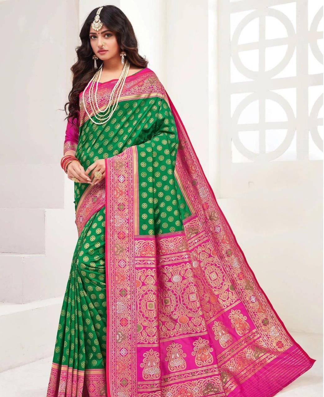 Printed Silk Saree in Green