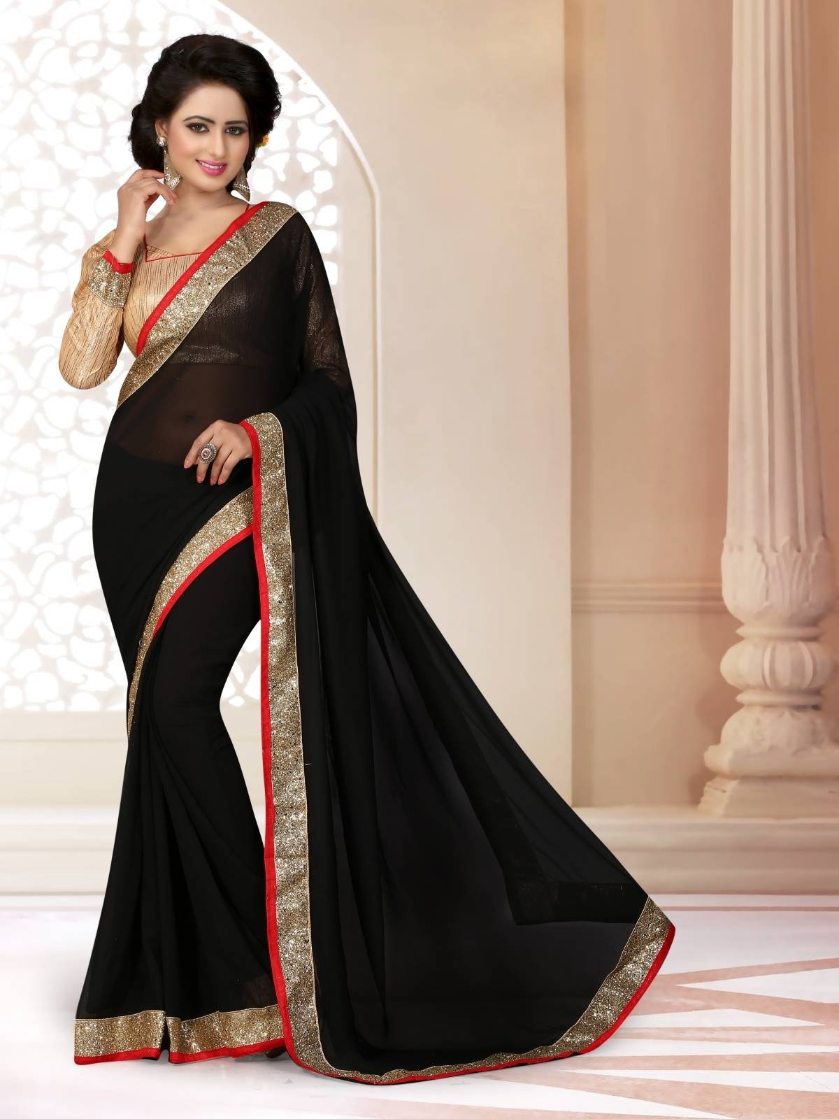 Border Work Faux Georgette Saree (Sari) in Black