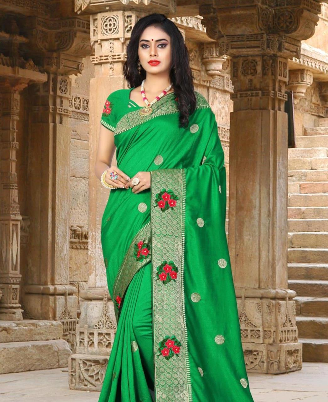Resham Silk Saree (Sari) in Green