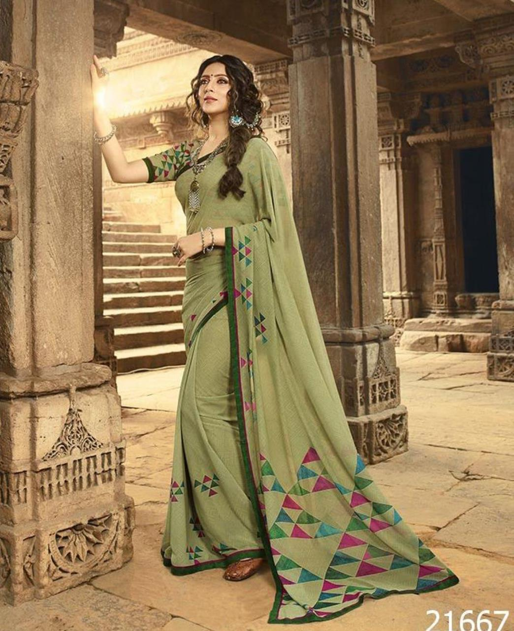 Printed Georgette Saree in Light Olive
