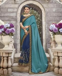 Stone Work Silk Saree in Blue
