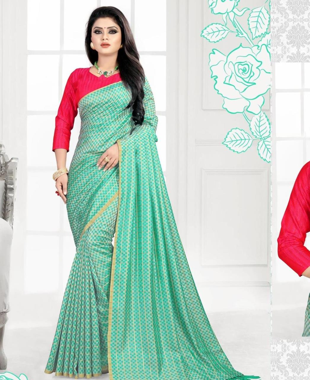 Printed Silk Saree (Sari) in MINTCREAM