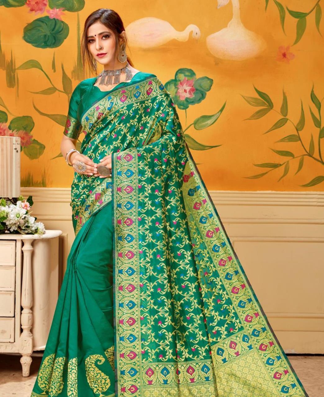 Woven Jacquard Saree in Green
