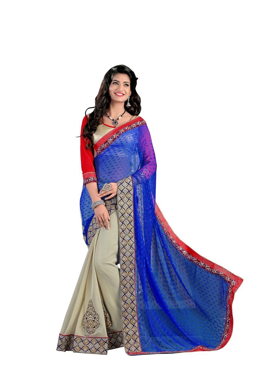 Embroidered Faux Georgette Saree (Sari) in Blue