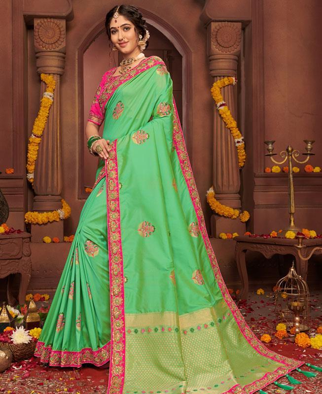 Border Work Silk Saree in Green
