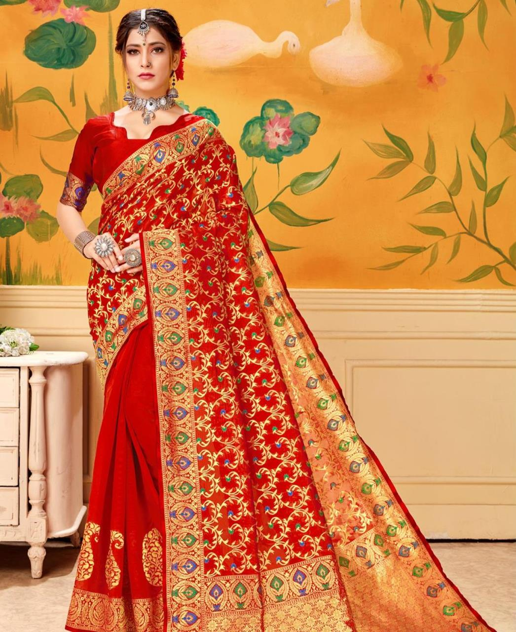 Woven Jacquard Saree in Red