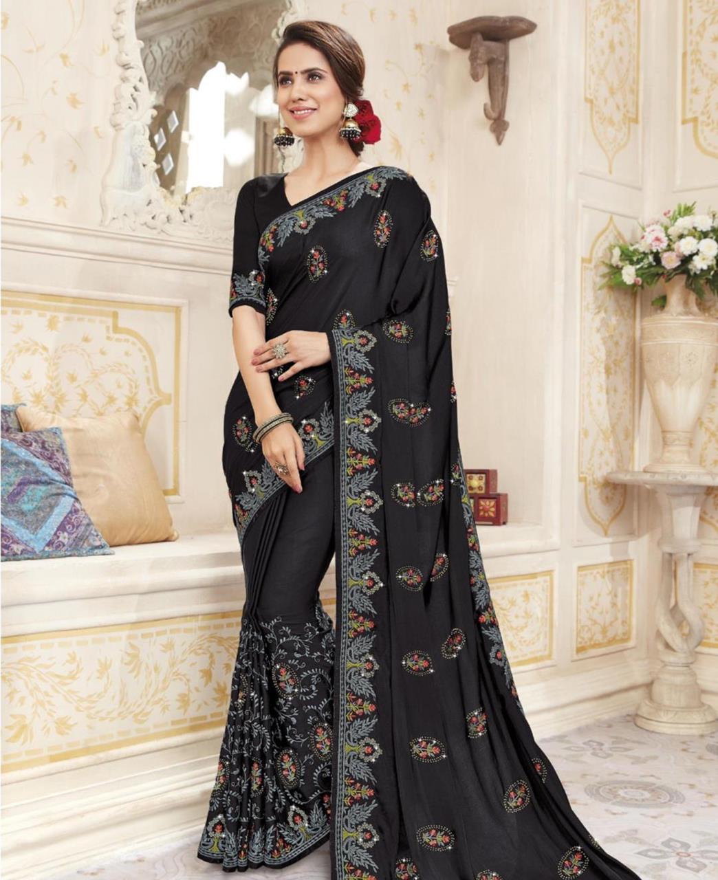 HandWorked Silk Saree in Black