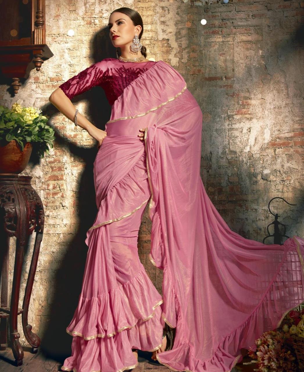 Plain Silk Saree (Sari) in LIGHTPINK