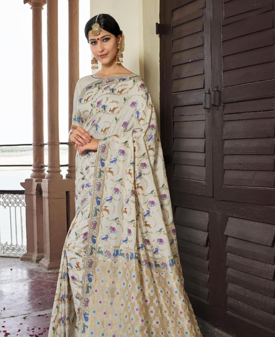 Silk Saree in Off White