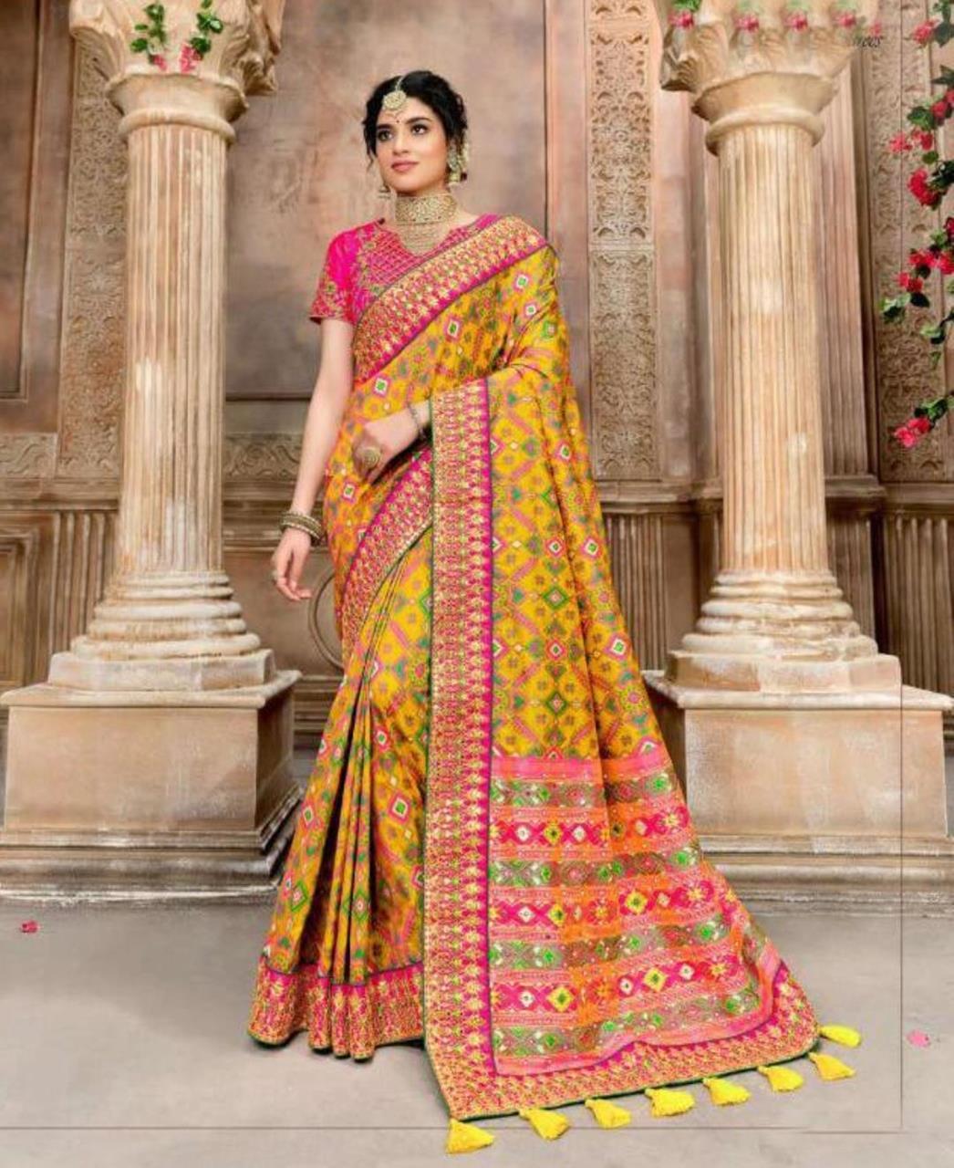 Resham Silk Saree in Yellow