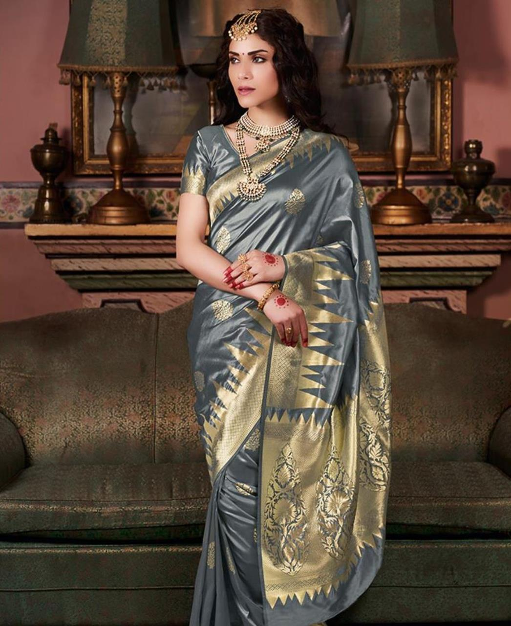 Silk Saree in Grey