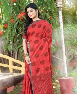 HandWorked Cotton Saree in Red