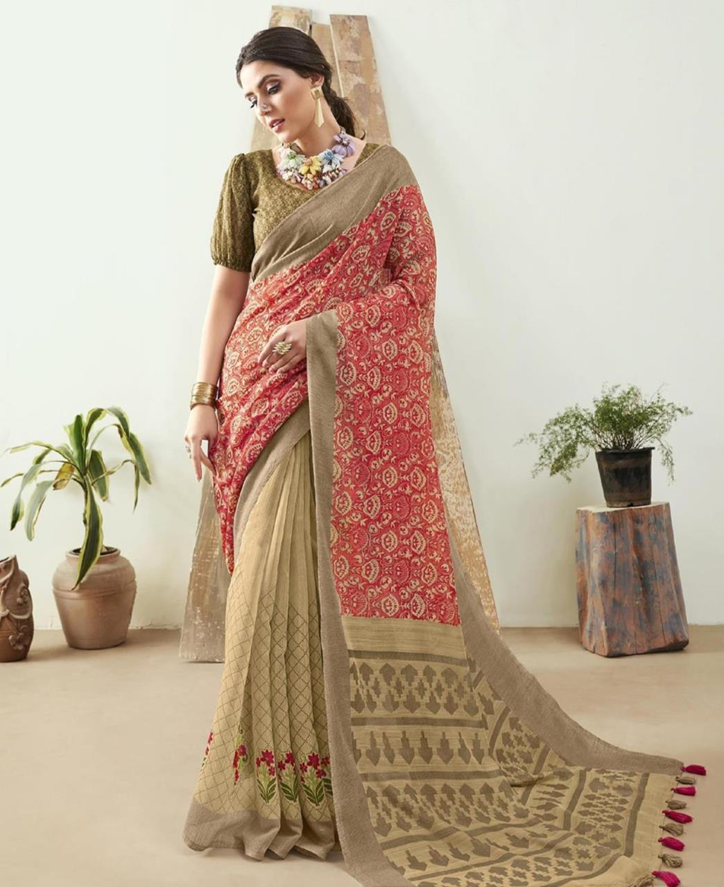 Printed Cotton Saree in Pink  ,  Golden