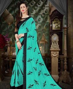 Embroidered Georgette Saree (Sari) in Turquoise